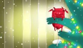 Rode nieuwe jaarkoe op nieuwe jaarboom Stock Afbeelding
