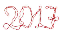 Rode Nieuwe Year& x27; s parels de parel van 2017 Heldere aantallen De tekst van het nieuwjaar Royalty-vrije Stock Afbeeldingen
