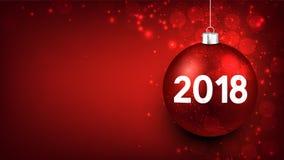 Rode 2018 Nieuwjaarachtergrond Stock Afbeelding