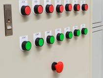 Rode noodsituatie en eindeschakelaar met groene starters Royalty-vrije Stock Foto