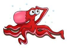 Rode octopus op geïsoleerde witte achtergrond Royalty-vrije Stock Afbeeldingen