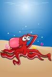 Rode octopus op oceaan Royalty-vrije Stock Afbeelding