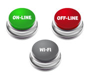 Rode off-line, groene online en grijze wifiknoop Stock Foto