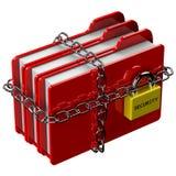 Rode omslagen met ketting met hangslot met woordveiligheid Stock Foto's