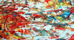 Rode oranje blauwe contrasten, de achtergrond van de verfwaterverf, abstracte het schilderen waterverfachtergrond stock afbeeldingen