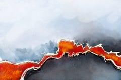 Rode oranje witte abstracte eigentijdse kunstdruk royalty-vrije stock afbeelding