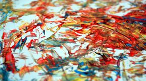 Rode oranje witte blauwe contrasten, de achtergrond van de verfwaterverf, abstracte het schilderen waterverfachtergrond stock foto
