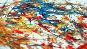Rode oranjegele blauwe contrasten, de achtergrond van de verfwaterverf, abstracte het schilderen waterverfachtergrond royalty-vrije stock afbeelding