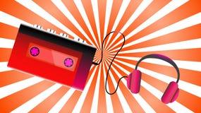 Rode oude retro uitstekende de cassette audiospeler van de hipster realistische volumetrische draagbare muziek voor het spelen au stock illustratie