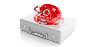 Rode oude telefoon op een eerste hulpuitrusting 3D Illustratie Royalty-vrije Stock Foto