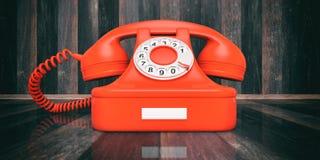 Rode oude telefoon op houten achtergrond 3D Illustratie vector illustratie