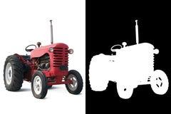 Rode Oude Tractor met Alpha- Stock Afbeeldingen