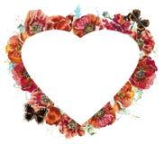 Rode papavers Bloemkader in de vorm van hart Waterverfhand getrokken illustratie royalty-vrije illustratie