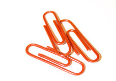 Rode paperclip Stock Afbeelding