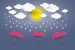 Rode paraplu in blauwe hemel met regendocument kunststijl Illusa Stock Foto's