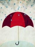 Rode paraplu en regen stock illustratie
