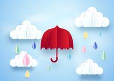 Rode paraplu en regenachtig op wolkenachtergrond vector illustratie