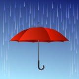 Rode paraplu en regendalingen vector illustratie