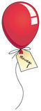 Rode partijballon met etiket Royalty-vrije Stock Foto