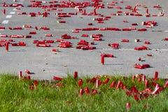 Rode patronen van het close-up van de jachtgeweren als achtergrond stock foto