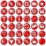 Rode pictogrammen & knopen voor website Royalty-vrije Stock Fotografie