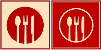 Rode pictogrammen met plaat, lepel, vork en mes Stock Fotografie