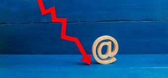 Rode pijl beneden en een symbool van e-mail Contact en e-mailadresaaneenschakeling De val van de populariteit van het gebruiken v royalty-vrije stock fotografie