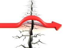 Rode pijl die hindernis overgaan - risico en succes 3d concept Stock Afbeeldingen