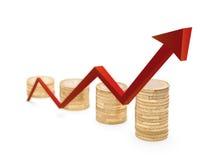 Rode pijl en van de muntstukkengroei grafiek Stock Afbeeldingen