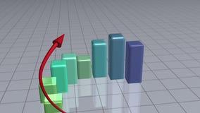 Rode pijl na een groene grafiek royalty-vrije illustratie