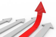Rode pijl omhoog. Concept succes, de groei. Royalty-vrije Stock Afbeeldingen