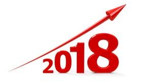 Rode pijl omhoog met 2018 Stock Foto's