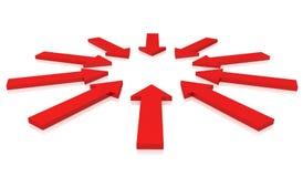 Rode pijlen Stock Foto's