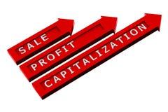 Rode pijlen met woorden, verkoop, winst, kapitalisatie Stock Foto