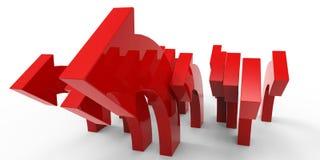 Rode pijlen op witte achtergrond Stock Foto