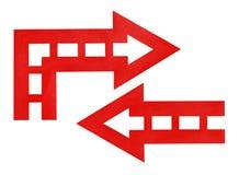 Rode pijlen: rechtstreeks en draai Stock Afbeeldingen