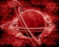 Rode planeet - fantasieruimte Stock Afbeeldingen