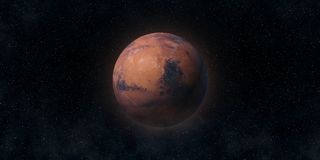Rode Planeet Mars Astronomie en wetenschapsconcept Elementen van dit die beeld door NASA wordt geleverd stock afbeelding