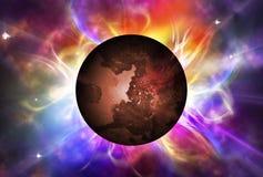 Rode planeet met aura Stock Afbeelding