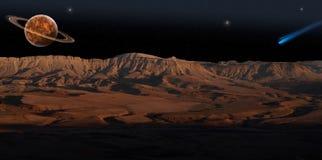 Rode Planeet (panorama). stock illustratie