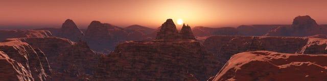 Rode planeet, panoramisch landschap van Mars Stock Afbeeldingen