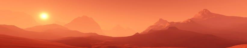 Rode planeet, panoramisch landschap van Mars royalty-vrije illustratie