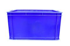 Rode plastic doos verpakking van gebeëindigde goederenproduct op witte achtergrond Stock Foto's