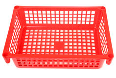 Rode plastic mand Stock Afbeelding