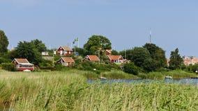 Rode plattelandshuisjes in Brandaholm, Zweden Royalty-vrije Stock Afbeeldingen
