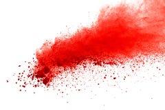 Rode poederexplosie op witte achtergrond Verf Holi stock foto's
