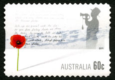 Rode Poppy Remembrance Australian Postage Stamp Stock Afbeelding
