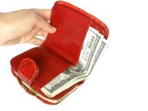rode portefeuille met geld Royalty-vrije Stock Foto's