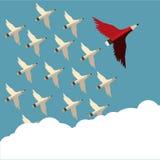 Rode potlood en aanhanger met vleugel die aan hemel schuin aan het recht vliegen stock illustratie
