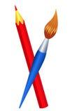 Rode potlood en borstel. Stock Afbeeldingen